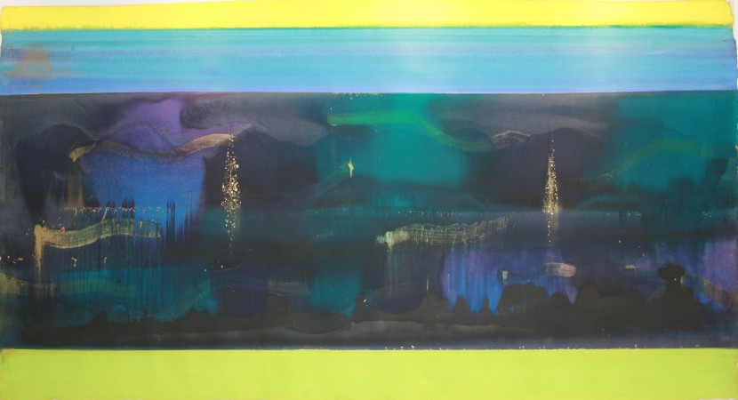 """FROM THE SERIES GEMSTONES & SUNKEN CITIES, Venice, Oil and metallic pigments on Toyoshi paper, 42 1/2 x 78"""""""