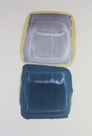 """FROM THE SERIES MASKS, SHIELDS, VEILS, Oil and metallic pigments on Rives heavyweight, 47 x 31 1/2""""-2"""
