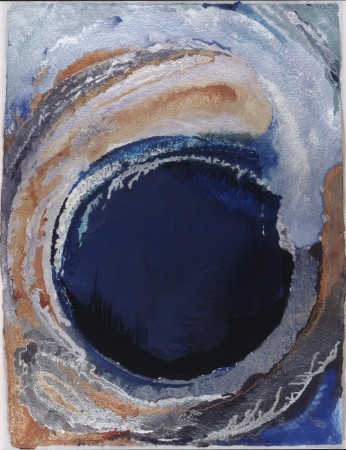 FROM THE SERIES THE ENGULFED LAND, Osi's Memory of the Blue Cave, Oil and metallic pigments on paper, 47 1/2 x 36""