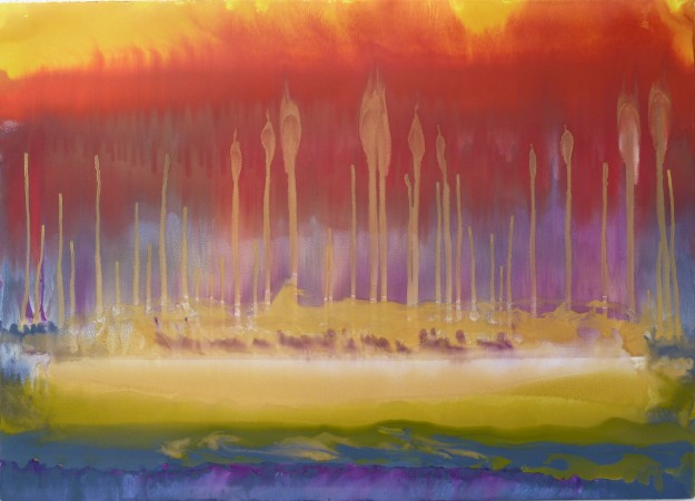 "FROM THE SERIES THE ENGULFED LAND, Shoot (#88), Oil and metallic pigments on Rives BFK, 30 x 42"", 2010"