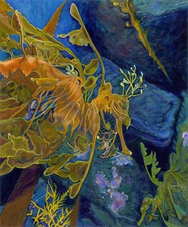 """LEAFY SEA DRAGON (Phycodurus eques) Acrylic on board, 8 x 6¾"""", 2013"""