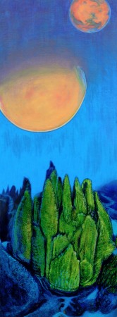 """LOOKING FOR LIFE ON MARS…IN A CANADIAN LAKE, Oil and acrylic on board, 15 x 5 1/2"""", 2013"""