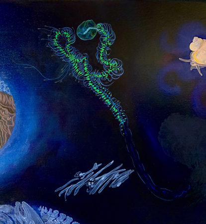Giant Siphonophore praya. Oil on canvas on panel, ©tanya_young 2020.