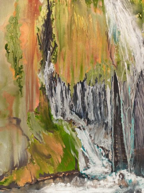"""FROM THE SERIES A ROCKY PLACE & SOURCE, Oil and metallic pigments on canvas, 48 x 36"""", 2011"""