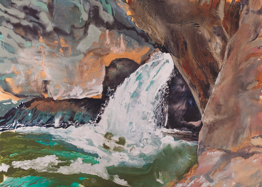 """FROM THE SERIES A ROCKY PLACE & SOURCE, Shinumo, Oil and metallic pigments on Rives BFK mounted on linen, 29 x 41"""", 2011"""