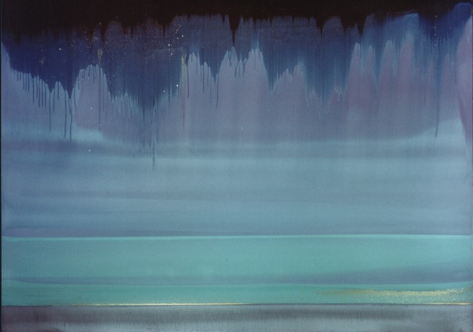 """FROM THE SERIES GEMSTONES & SUNKEN CITIES, Parangtrites, Oil and metallic pigments on Rives BFK, 30 x 44 1/2"""""""