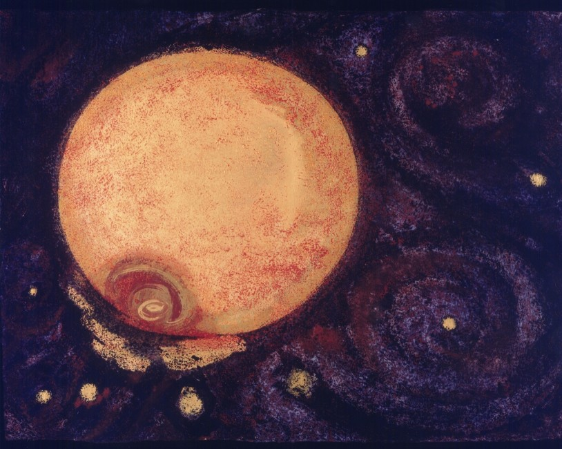 """FROM THE SERIES OTHERWORLDLY, Event on Jupiter, Oil and metallic pigments on paper, 31 x 40 1/2"""""""