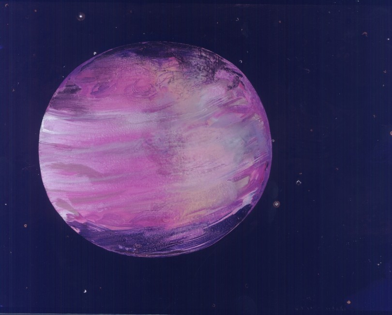 FROM THE SERIES OTHERWORLDLY, Jupiter in Ultraviolet, Oil and metallic pigments on paper, 31 x 40 1/2