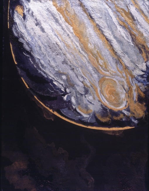 """FROM THE SERIES OTHERWORLDLY, Veiled Jupiter, Oil and metallic pigments on JJSt. Armand paper, 47 1/2 x 36"""""""