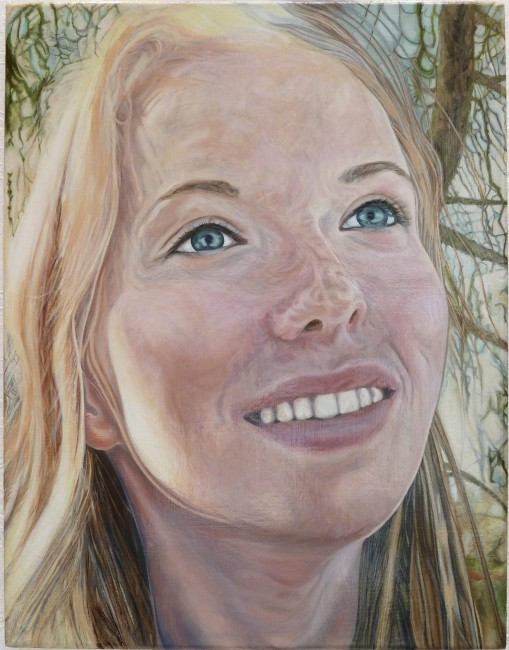 """FROM THE SERIES PORTRAITS, Madeleine, Oil on linen, 18 x 14"""", 2009"""