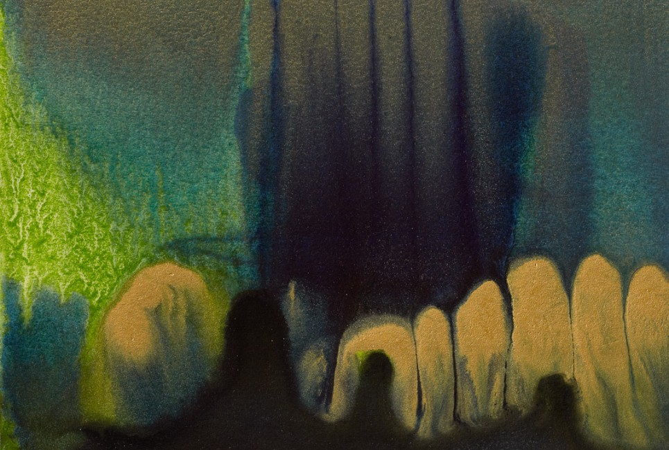 """FROM THE SERIES SEA-SNATCH MINIATURES, Oil and metallic pigments on paper mounted on canvas, 4 X 6"""""""