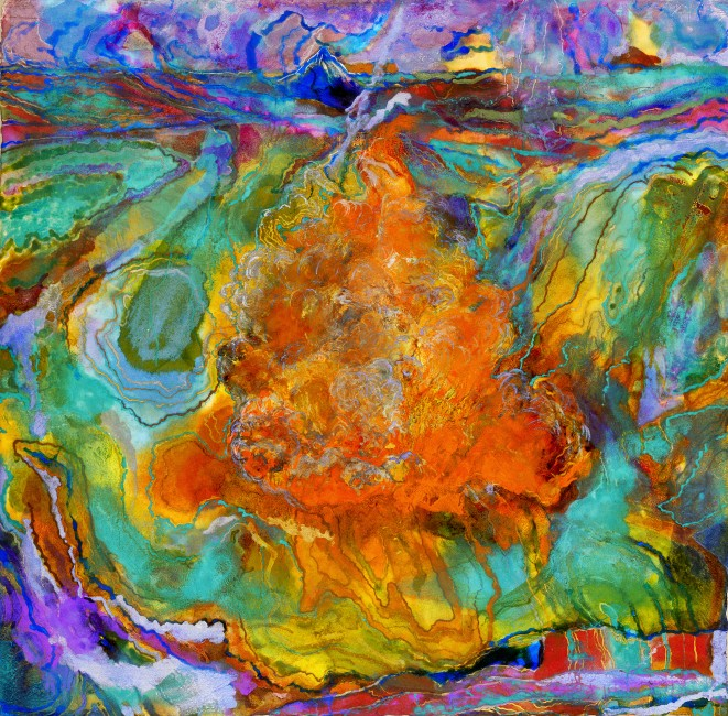 """FROM THE SERIES THE ENGULFED LAND, Fire in the Lake,Oil and metallic pigments on paper, 40 x 39"""""""