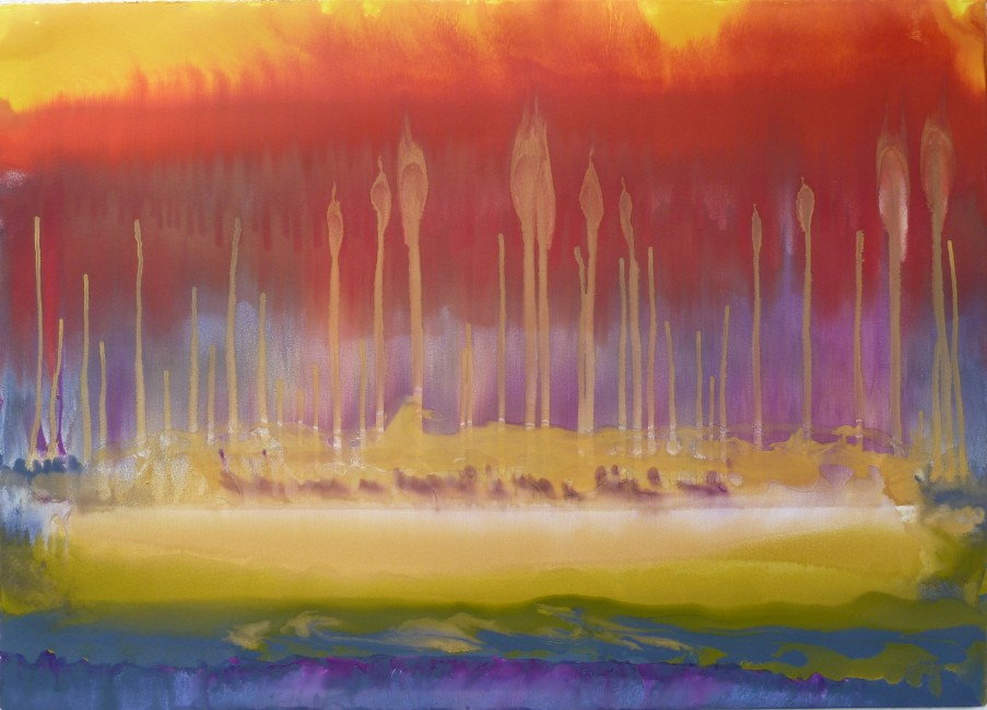 """FROM THE SERIES THE ENGULFED LAND, Shoot (#88), Oil and metallic pigments on Rives BFK, 30 x 42"""", 2010"""
