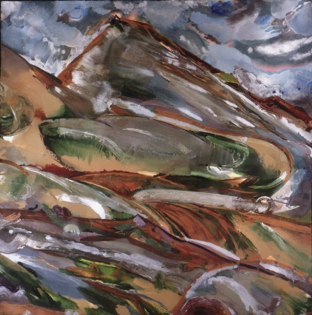 """FROM THE SERIES THE ENGULFED LAND, The Engine in the Earth, Oil and metallic pigments on handmade paper, 79 x 79"""""""