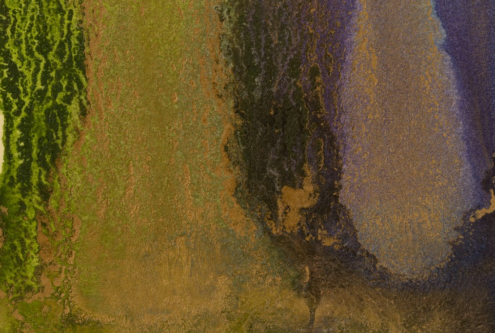 """FROM THE SERIES TREES MINIATURES, Oil and metallic powders on paper mounted on canvas, 4 x 6"""", 2011"""