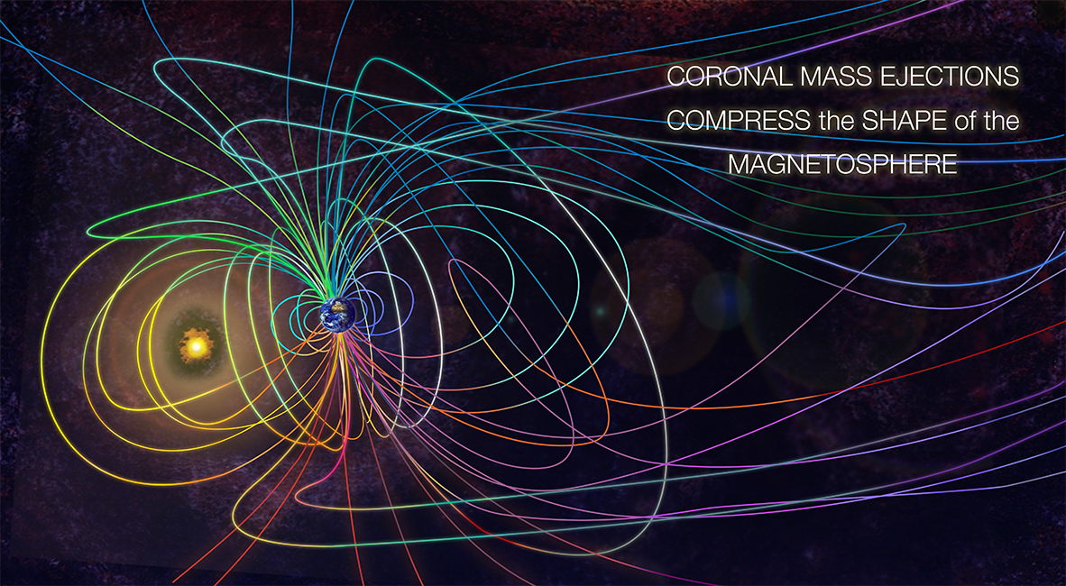 """MACROILLUSTRATION: CORONAL MASS EJECTIONS COMPRESS THE SHAPE OF THE MAGNETOSPHERE, Adobe Illustrator and Photoshop CS6, 11 x 20"""", 2013"""