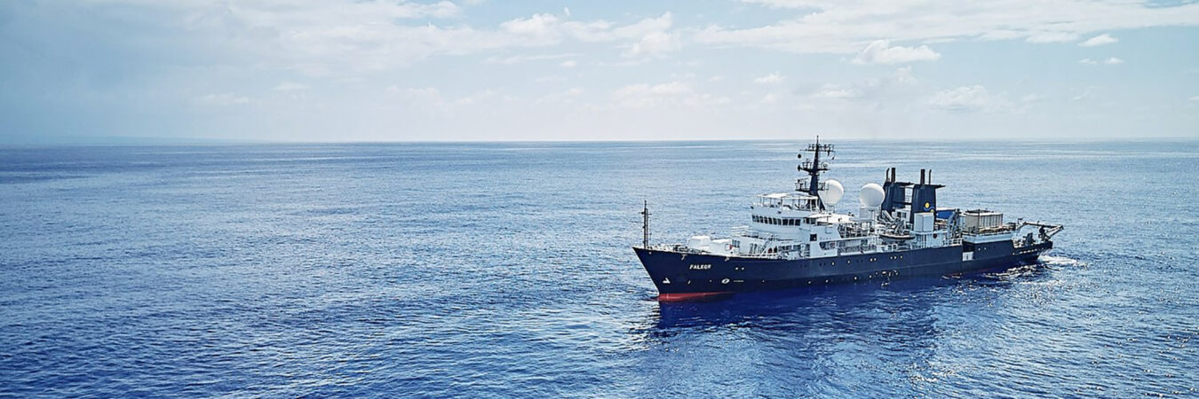 R/V FALKOR, an oceanographic research vessel operated by Schmidt Ocean Institute. 272 feet in length; crew of 23 plus Science Team (8 members), Artist-at-Sea (me) and media specialist (Brady Lawrence).