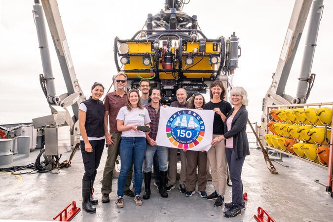 The Science Team plus Artist At Sea (me, at far right) from The Biodiverse Borderlands Cruise July 25-August 6, 2021, aboard R/V FALKOR, operated by Schmidt Ocean Institute. Photo credit Brady Lawrence. We are standing on the aft deck in from of ROV SuBastian.
